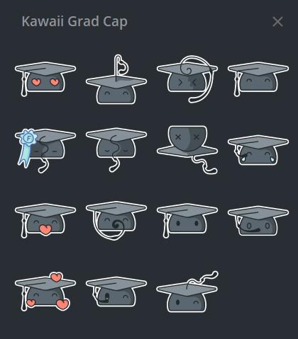 Grad Cap Sticker PAck Telegram Screenshot