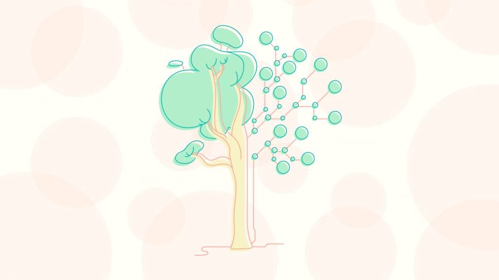 Vector Illustration of tree, half nature half circuit board, pastel green, coral and vanilla colours, coloured outlines, dotted peach background