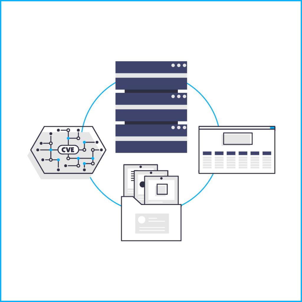 Development Cicle, server illustration, Mitre ATT&CK Framework illustration, dokument folder illustration, CVE circuit board illustration, black, gray and blue colour scheme