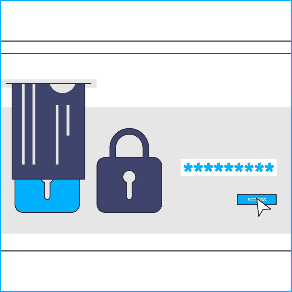 """Browser window with two locks, an incrypted password window and an """"access"""" button, ID card is being inserted above locks into a slot inside browser window, access button is about to be clicked by mouse cursor"""