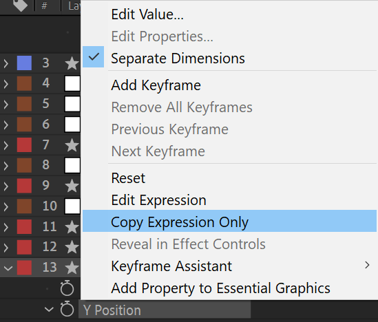 After Effects Screenshot: Copy Expression Only Menu