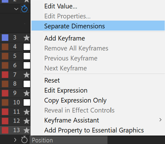 After Effects Screenshot: Right click property, choose separate dimensions from menu