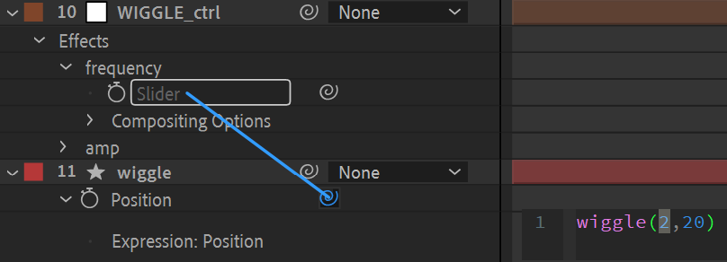 After Effects Screenshot: click & drag the pickwhip to a slider control